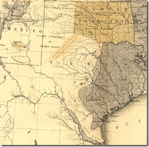 Detail of Texas from Francis A. Walker's 1870 population density map of the United States.