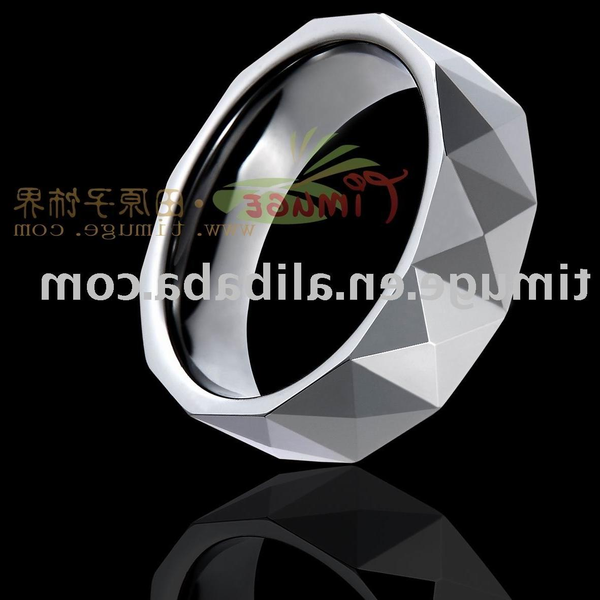 Shiny Tungsten Rings, High Polish Fingle Ring,Faceted Wedding Jewelry