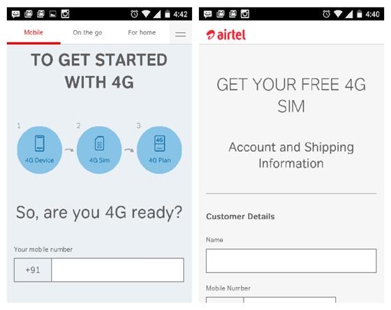 Get free 4G sim airtel