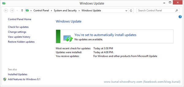 Windows Update - No Notification (www.kunal-chowdhury.com)