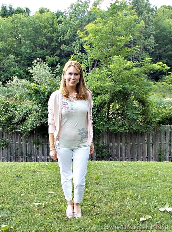 white jeans, espadrilles, grey t-shirt, pink lace back cardigan3
