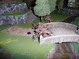 Closer view of bridge fight; Seneschal in the back directing charge