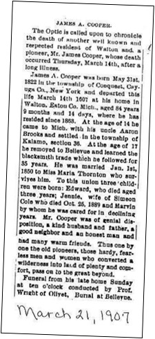 COOPER_James A_obit from Mar 1907_Eaton Co Michigan