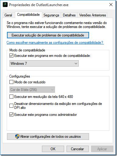Marque a opção Executar este programa em modo de compatibilidade, depois escolha o Windows 7.