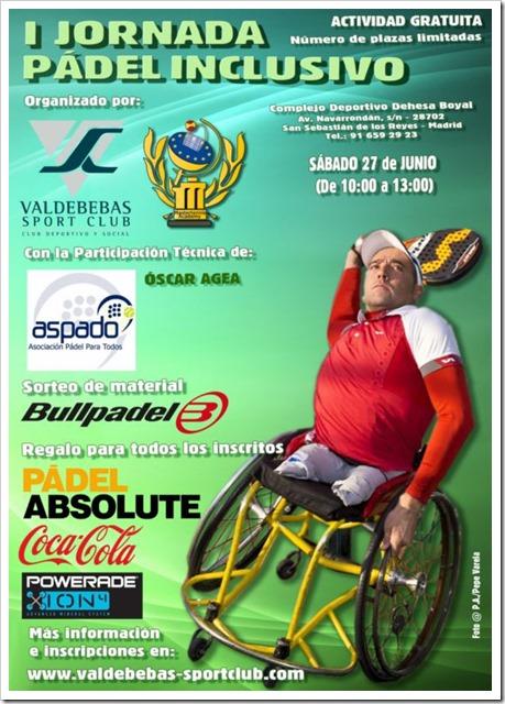 I Jornada Pádel Inclusivo organizada por Valdebebas Sport Club, sábado 27 junio 2015.