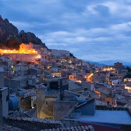 Night Falls on Caltabellota by Erin Perkins-Watry - City,  Street & Park  Vistas ( mountain, village, church, caltabellota, night, dusk, sicily )