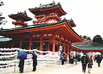 Heian Jingu Shrine on New Year's Day, 2002, Kyoto, Japan.