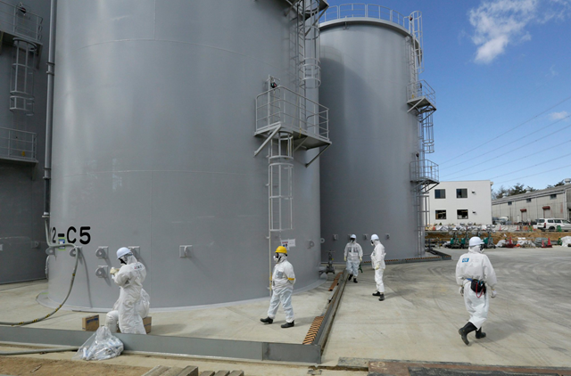 Storage tanks of radiation-contaminated water at Tokyo Electric Power Company's Fukushima Daiichi nuclear power plant in Okuma, Japan, in 2015. Photo: Kimimasa Mayama / European Press Photo Agency