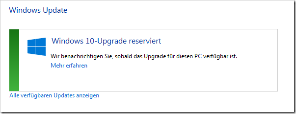 Windows 10 Upgrade reserviert