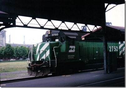 Burlington Northern GP39E #2750 at Union Station in Portland, Oregon on May 11, 1996