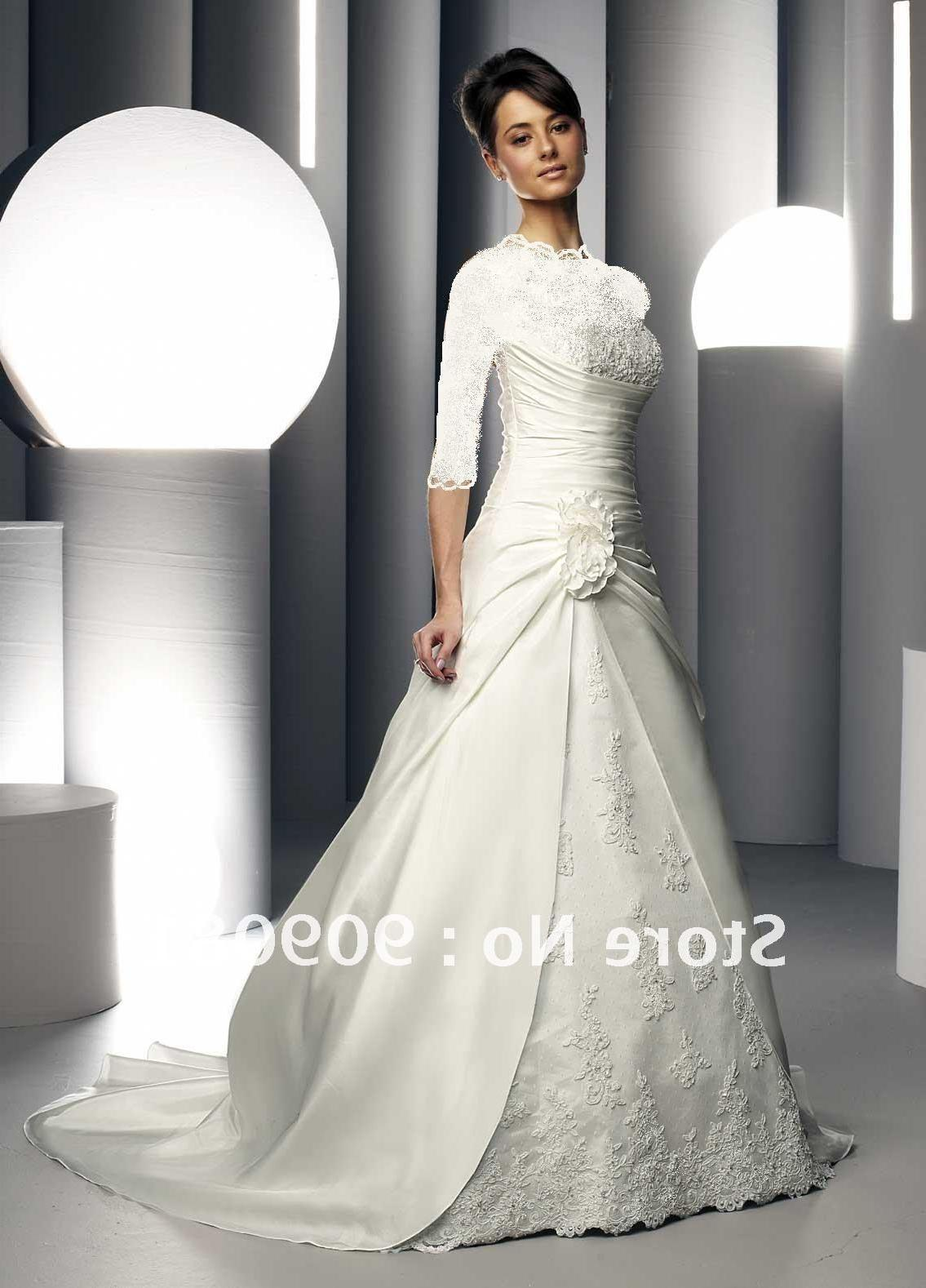 NL001 Illusion Long Lace Sleeve High Neck Satin and Lace Wedding Dress