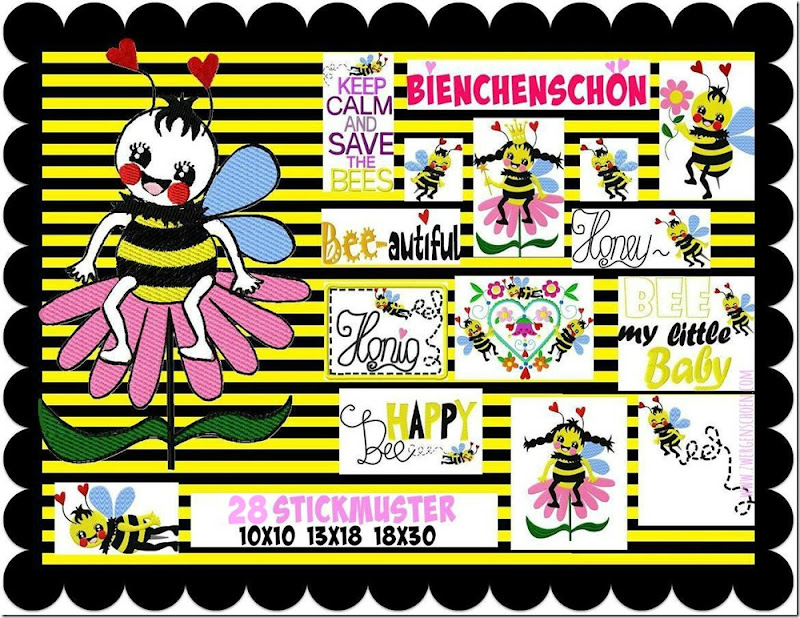 Stickdatei_Biene_Bees_Bienenschoen1