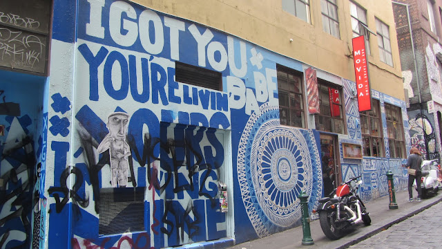 Funky art along a Melbourne sidestreet.