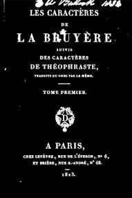 Cover of Paracelsus's Book Les Caracteres de La Bruyere (in French)