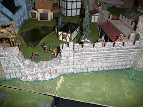 The gap in the south wall, manned by Burgermeister Kaufmann, Sgt. Lownherz, and the town militia.