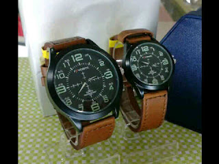 jam tangan Favorite couple ring hitam coklat