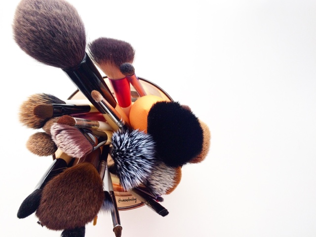 makeup brushes birds eye view