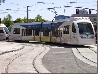 IMG_6068 TriMet MAX Type 4 Siemens S70 LRV #408 at Union Station in Portland, Oregon on May 9, 2009