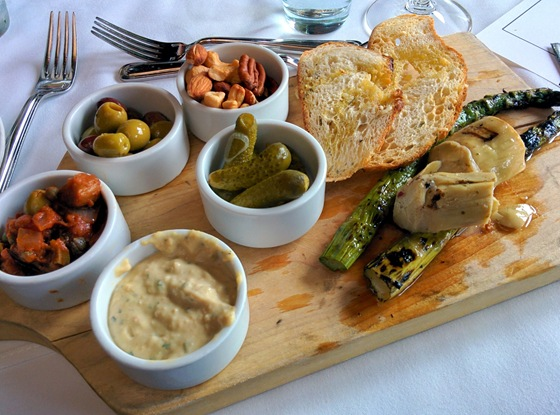 Hummus Platter, with Caponata, Gherkins, Artichokes, Grilled Asparagus, Mixed Nuts
