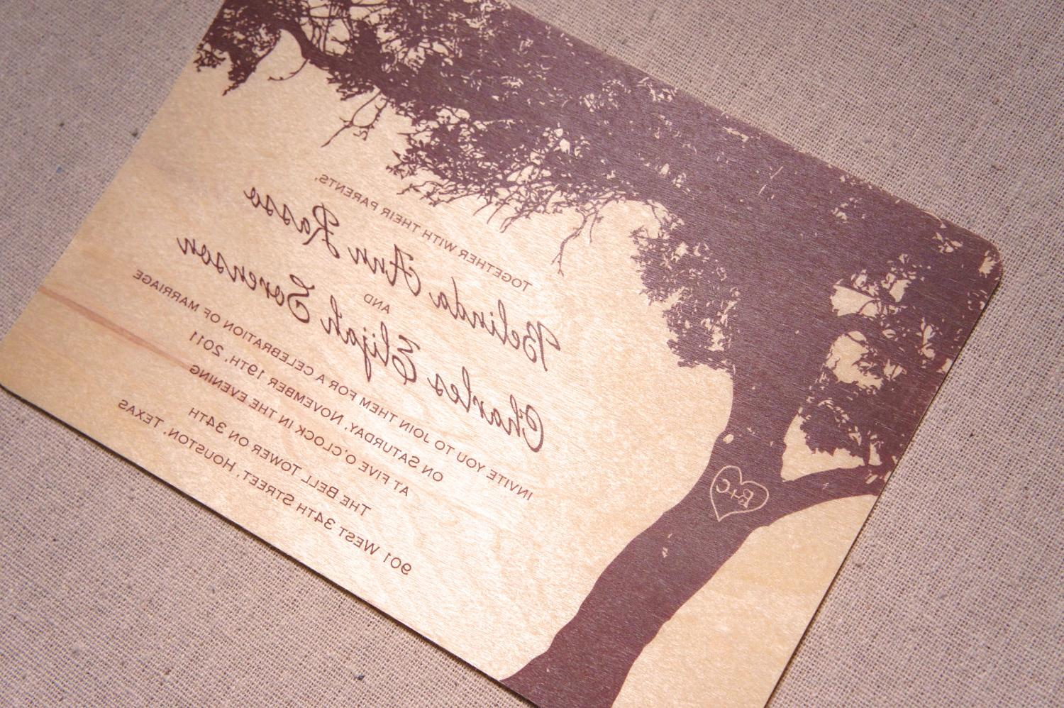 Real Wood Wedding Invitations - Oak Tree Silhouette. From woodchickstudios