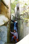Tanja Vocke and I hiking through a crevice at Chimney Rock.