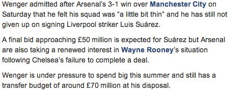Screen+Shot+2013 08 12+at+10.09.34 Arsenal prepare £50m bid for Luis Suarez, Wenger still has £70m [Daily Telegraph]