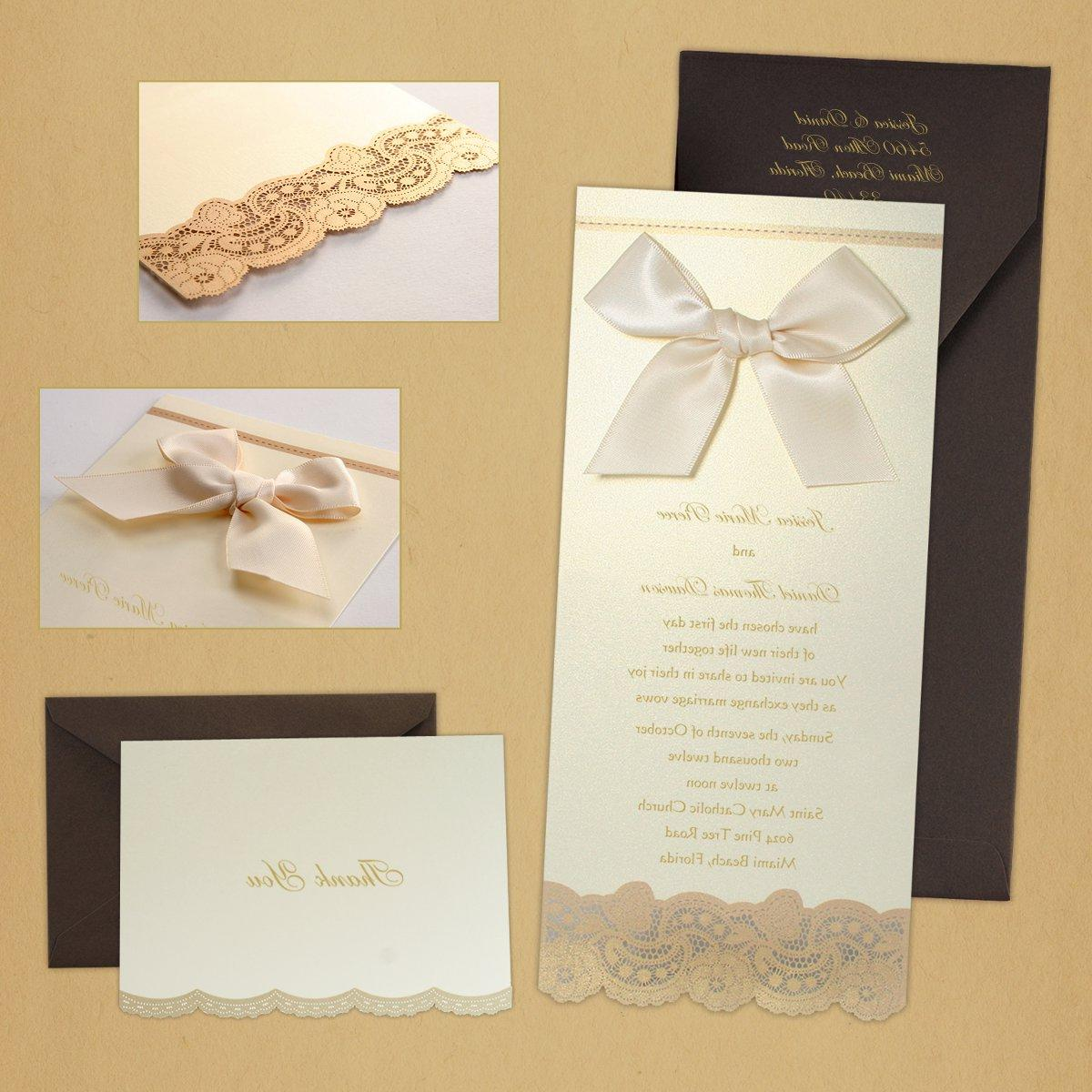 This gorgeous wedding invitation features a luminescent gold shimmer,