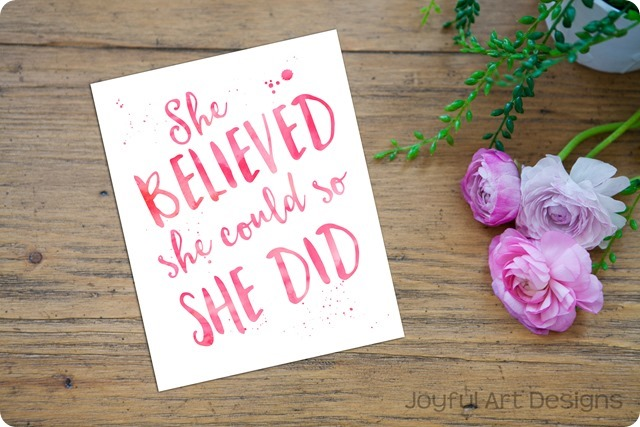 ETSY Listing She Believed pink