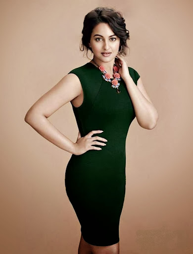 HD Wallpapers Sonakshi Sinha in Green Color Dress With Bun Hairstyles