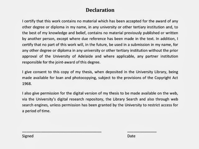 phd thesis declaration of originality