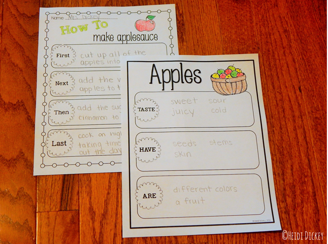Apple Unit Graphic Organizers