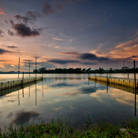 Morning sunrise by the reservoir by Calvin Chan - Landscapes Sunsets & Sunrises ( clouds, platform, grass, reflections, hour, landscape, reservoir, red, dawn, sky, blue, floating, sunrise )