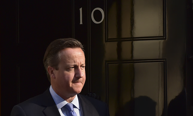 David Cameron in front of 10 Downing Street. Stephen Heidari-Robinson joins Cameron's top team from Schlumberger's consulting division where he advised companies including BP, Shell and Chevron. Photo: Leon Neal / AFP / Getty Images