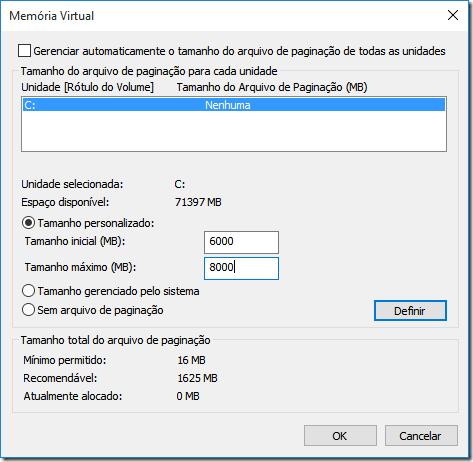 Defina o tamanho inicial e o tamanho máximo para a memória virtual