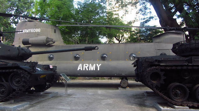 Captured American helicopter and tanks.