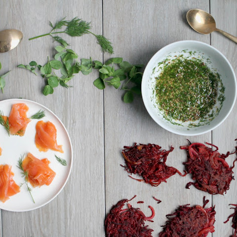 Beetroot Fritters & Smoked Salmon