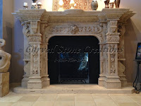 Carved travertine fireplace surround, acanthus & floral details