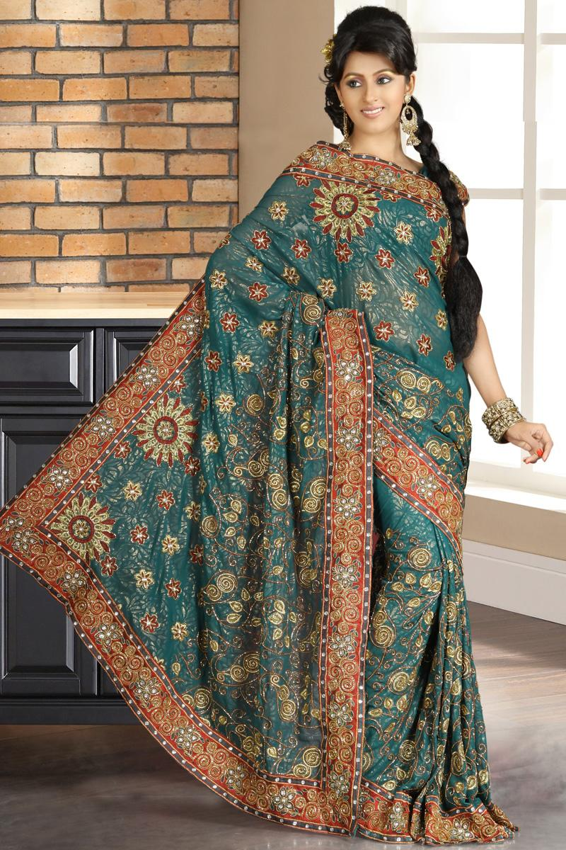 Teal Blue Shimmer Georgette Wedding and Bridal Saree   166.00