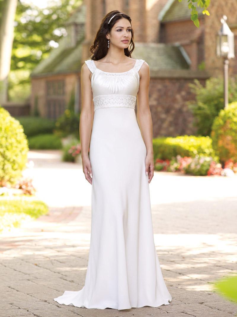 Bateau OfF-the-Shoulder aBeaded Informal Wedding Dress