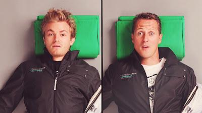 Нико Росберг и Михаэль Шумахер на фотосессии для Puma