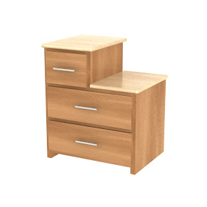 Waterfall Nightstand with Drawers