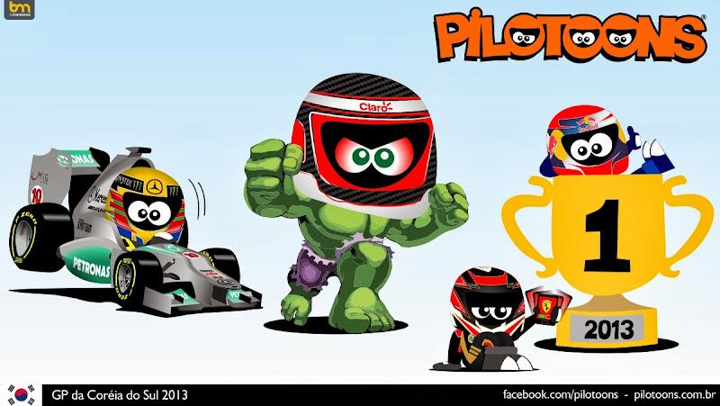 комикс pilotoons с Халком по Гран-при Кореи 2013