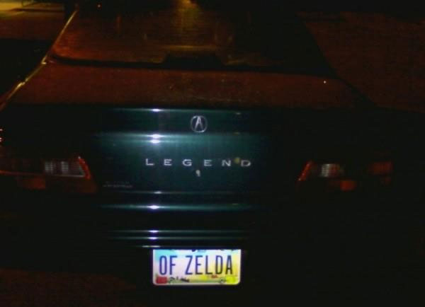 "Legend car with plates ""of Zelda"""