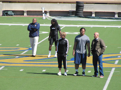 SQT and secondary coach Al Simmons on the left. Coach Simmons will have a lot of work to do this spring with the secondary...