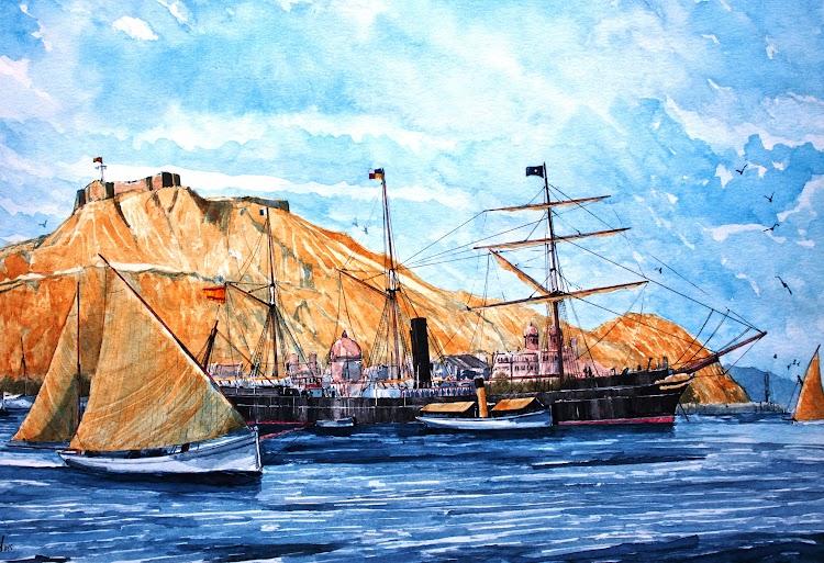 El vapor MADRID fondeado en Alicante. Acuarela de Roberto Hernandez, El Ilustrador de Barcos.jpg