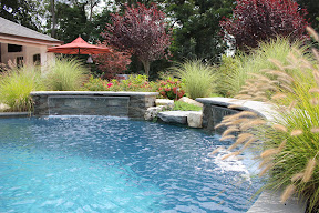 Free Form Custom Gunite Pool with Sheer Descent Waterfalls and Spill Over Gunite Spa - Old Westbury, Long Island NY