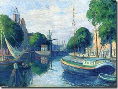 Maximilien-Luce-Barges-on-a-Canal-at-Rotterdam