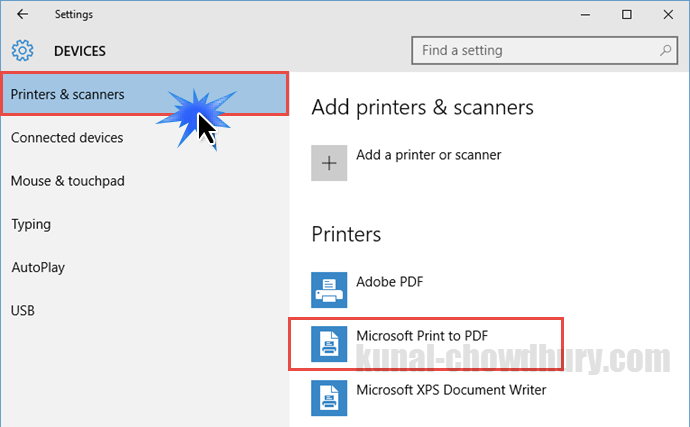 Verify whether Microsoft Print to PDF driver is already installed in Windows 10 (www.kunal-chowdhury.com)