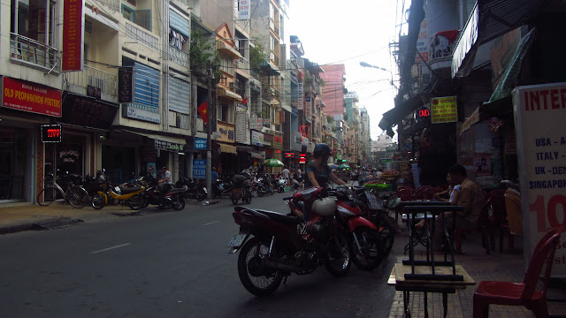 The Pham Ngu Lao neighborhood - popular with tourists.