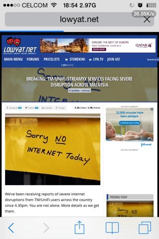 TM//UNIFU/STREAMYX SERVICES FACING SEVERE DISCRUPTION ACROSS MALAYSIA